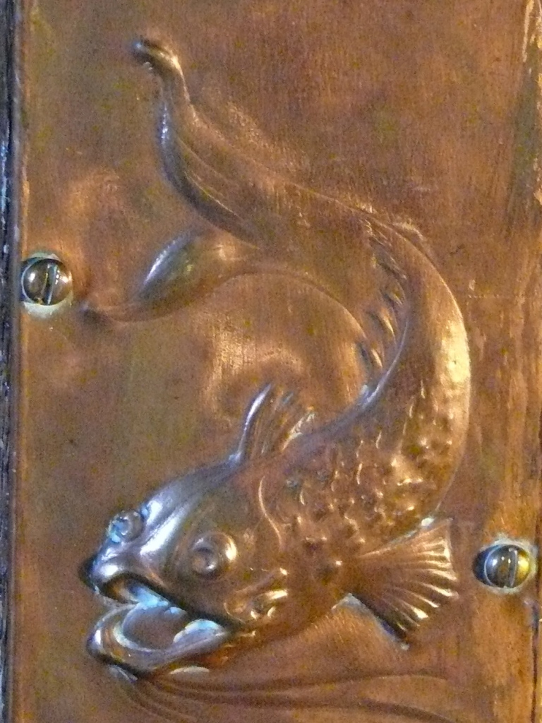 Carp detail on the interior door.